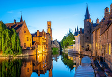 Bruges City Skyline With Canal...