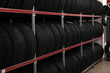 canvas print picture - Car tires on rack in auto store