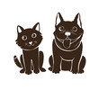 cute cat and dog silhouette illustrations. for gift and sticker