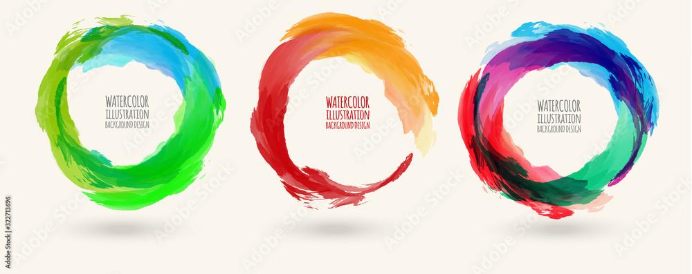 Watercolor circle texture set. Vector circle elements <span>plik: #322713696 | autor: sdmix</span>