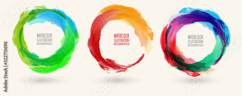 Photo Watercolor circle texture set. Vector circle elements