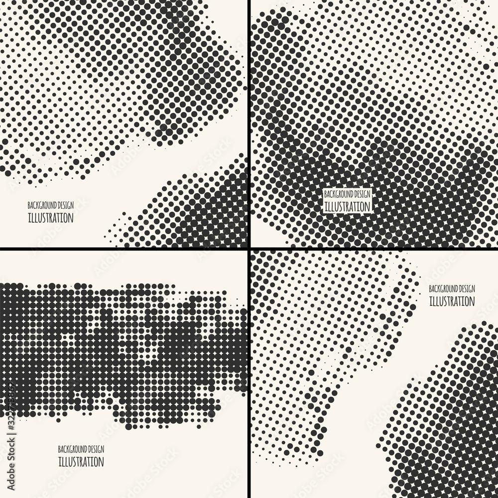 Fototapeta abstract grunge halftone dot texture set. vector illustration eps10
