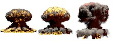 3D Illustration Of Explosion - 3 Huge Different Phases Fire Mushroom Cloud Explosion Of Hydrogen Bomb With Smoke And Flame Isolated On White