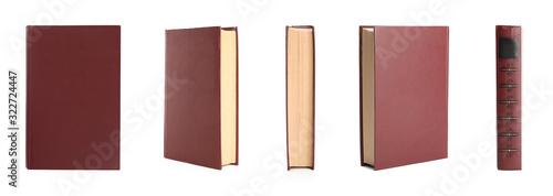 Fotografie, Obraz Set of hardcover books on white background