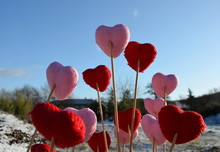 Lots Of Pink And Red Hearts On...