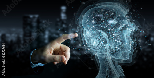 Man hand using digital artificial intelligence holographic projection 3D rendering