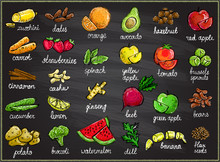 Raw Fruits And Vegetables Graphic Set On A Chalkboard, Hand Drawn Sketch Illustration