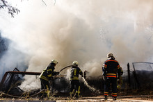 Firefighters In Action, Fire Hoses