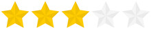 Flat Golden 3 Star Rating Icon...