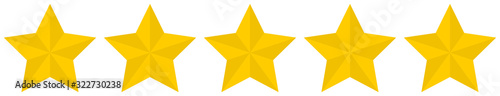 Fotografía Flat golden 5 star rating icon isolated on a white background