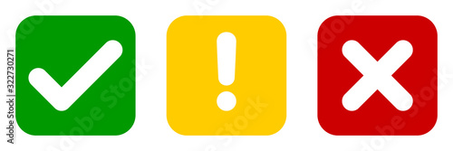 Fotografía Set of flat square check mark, exclamation point, X mark icons, buttons isolated on a white background