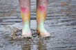 Leinwanddruck Bild Woman in rubber boots walking outdoors on rainy day, closeup