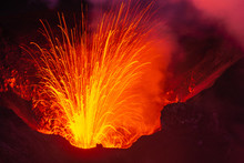 Lava Erupting From Mount Yasur...