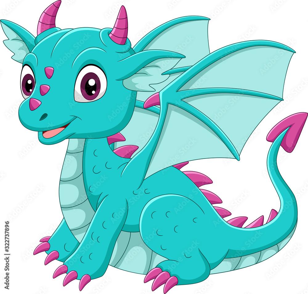 Fototapeta Cartoon baby blue dragon sitting
