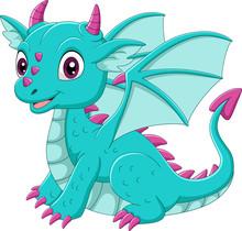 Cartoon Baby Blue Dragon Sitting