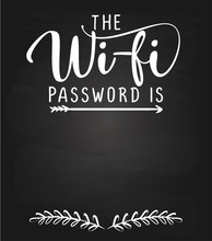 The Wi-fi Password Is: - Black Chalkboard With Free Space For Wifi Login. Guestroom Poster For Hotel, Pub, Bar, WIFI, User And Password Word On Frame With Wood Wall Background.