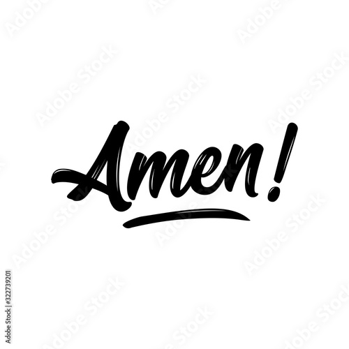 Amen - Hand written Vector calligraphy lettering text in cross shape Canvas Print