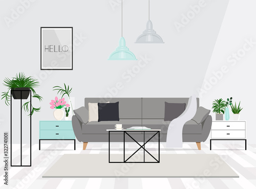 Luxurious living room interior with a grey couch, lamps, coffee table and plants Wallpaper Mural