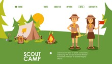 Scout Camp Website, Vector Ill...