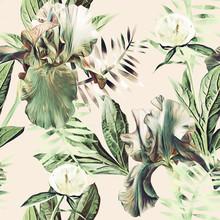 Iris And Peony Flower, Seamles...