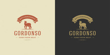 Butcher Shop Logo Vector Illus...