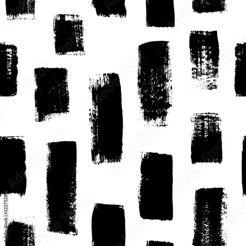 Grunge vertical bold brushstrokes hand drawn vector seamless pattern. Vertical dry paint brush stripes handdrawn background. Wall mural