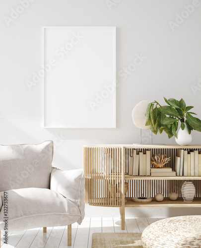 Mock up frame in home interior background, Scandinavian style, 3d render