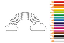 Rainbow For Coloring Book With...