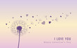 dandelion silhouette with flying seeds and hearts for valentines day vector illustration EPS10