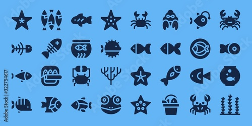 Fotografia Modern Simple Set of aquarium Vector filled Icons