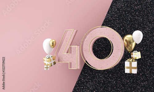 Obraz Happy 40th birthday party celebration. Modern marble composition 3D Render - fototapety do salonu
