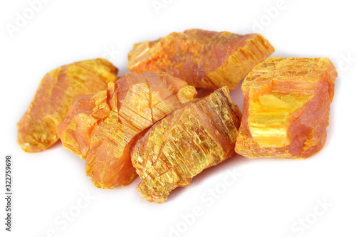 Orpiment (auripigment, arsenic mineral) isolated on white Canvas Print
