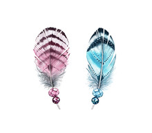 Watercolor Feathers With Gemstones. Realistic Painting With Two Colourful Wings And Jewel Stones. Boho Style Illustration Isolated On White