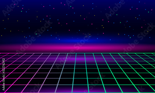 Obraz Retro vintage neon grid horizon of the 80s and 90s. Banner for printing night disco parties. - fototapety do salonu