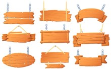 Hanging Wooden Banners. Wood B...