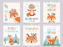 Wild Tribal Fox Poster. Be Brave, Find Adventure And Free Foxes With Indian Feathers And Arrows Cartoon Posters Vector Illustration Set. Postcard Templates With Cute Animal And Motivational Phrases.