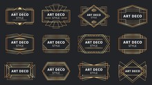 Golden Art Deco Badges. Gold Frame Label, Decorative Badge And Geometric Frames Vector Set. Collection Of Elegant Rectangular Borders For Emblem, Label. Retro Linear Ornaments, Vintage Decorations.
