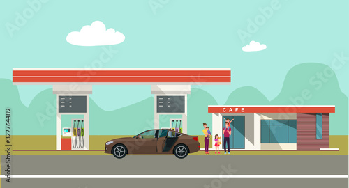 Gas station on the background of the countryside landscape and a car with family Tapéta, Fotótapéta