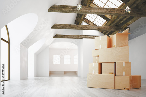 Obraz Classic wall interior and modern frame with parquet and cartboard boxes, empty room, 3d rendering - fototapety do salonu