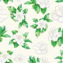 Gardenia Seamless Pattern