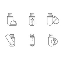USB Flash Drive Pixel Perfect Linear Icons Set. Compact Data Storage Device. Memory Stick. Thumb Drive. Customizable Thin Line Contour Symbols. Isolated Vector Outline Illustrations. Editable Stroke
