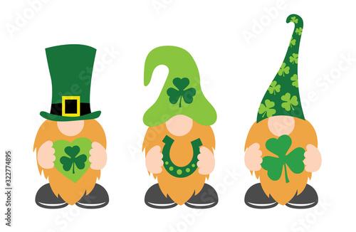 Obraz St. Patrick's Day Gnomes with shamrock & horseshoe - fototapety do salonu