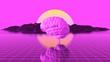 Leinwanddruck Bild - Gehirn als Intelligenz Konzept vor 80er Jahre Landschaft