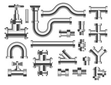 Plumbing Isolated Icons, Pipes And Tubes, Crane And Piping