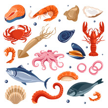Seafood Menu, Fish And Shrimp,...