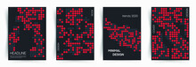 Set Of Covers. Minimal Abstract Design In The Matrix Style With Red And Gray Chaotic Dots On Black Background. This Is Design For Book, Cover, Leaflet And Other Ideas. Eps 10