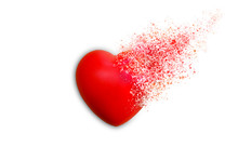 Red Heart Dispersion Photo Retouch Isolated On White Background