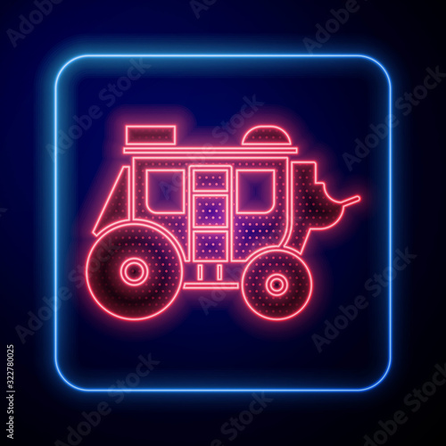 Fényképezés Glowing neon Western stagecoach icon isolated on blue background