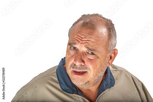 Photo Disbelief expression portrait of a senior man isolated on white background