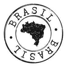Brazil Map Silhouette. Postal Passport Stamp Round Vector Icon.